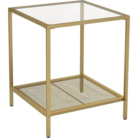 VASAGLE 2-Tier End Table, Side Table, Accent Table with Tempered Glass Top and Mesh Shelf, Stable Steel Frame, for Living Room Bedroom, Gold Colour and Marble Pattern by SONGMICS LGT030W01 - Gold Colour and Marble Pattern