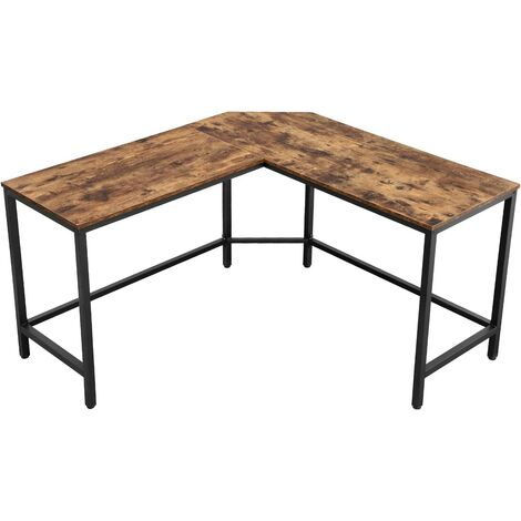 VASAGLE ALINRU Computer Desk, L-Shaped Corner Writing Desk, Space-Saving Study Desk, Gaming Desk for Office, Easy to Assemble, Industrial, Rustic Brown by SONGMICS LWD71X