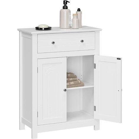 VASAGLE Armario para baño con cajón y balda Ajustable,con Estilo rústico, Madera, Blanco, 60 x 30 x 80cm, por SONGMICS, BBC61WT
