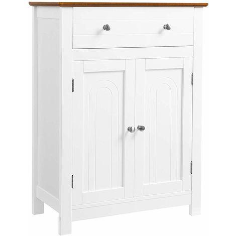Vasagle armario para ba o mueble de ba o con caj n y for Mueble bano rustico blanco