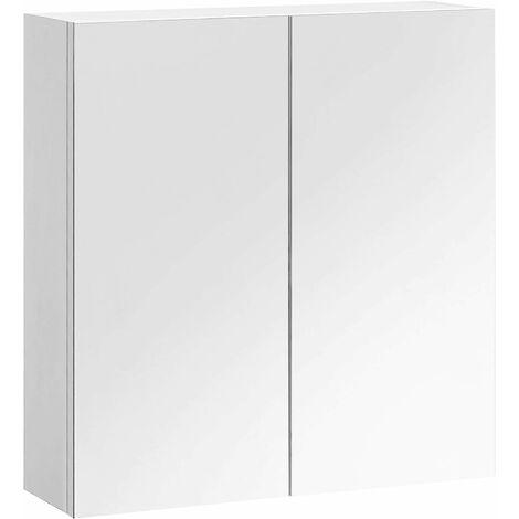 VASAGLE Armoire Murale Salle de Bain, Placard Suspendu avec Miroir, Meuble de Rangement 2 Portes, Style Moderne, Blanc BBK120W01 - Blanc