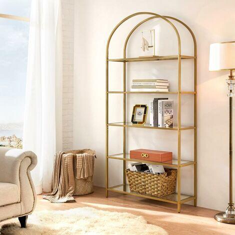 VASAGLE Aufbewahrungsregal, mit 5 Ebenen, Standregal aus Hartglas, bogenförmiges Bücherregal, für Wohnzimmer, Schlafzimmer, Arbeitszimmer, golden by SONGMICS LGT050A01 - Gold Colour