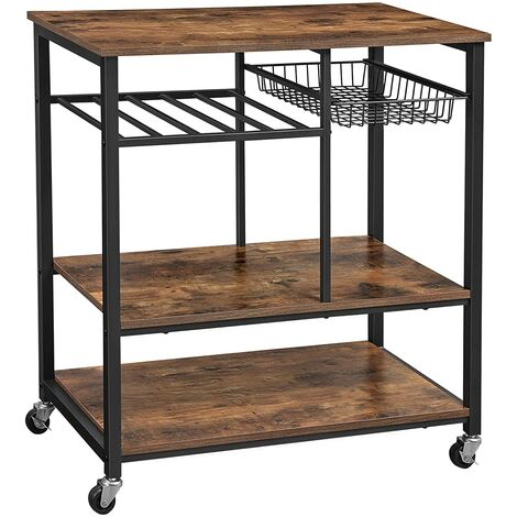 VASAGLE Baker's Rack with Wheels, Kitchen Island, Food Trolley with Metal Mesh Basket, Bottle Holder and Storage Shelves, 80 x 40 x 86.5 cm, Industrial Style, Rustic Brown by SONGMICS KKS80X