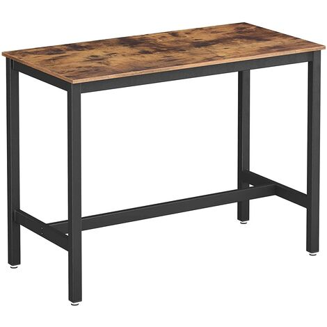 VASAGLE Bar Table, Industrial Kitchen Table, Dining Table With Solid Metal Frame, for Cocktails, Bar, Party Cellar, Restaurant, Living Room, Wood Look, 120 x 60 x 90 cm by SONGMICS LBT91X - Wood Look