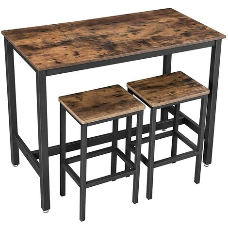 """main image of """"VASAGLE Bar Table Set, Bar Table with 2 Bar Stools, Breakfast Bar Table and Stools Set, Kitchen Counter with Bar Chairs, for Kitchen, Living Room, Party Room, Industrial, Rustic Brown/Greige and Black"""""""