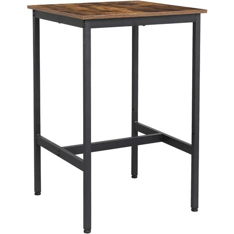 VASAGLE Bar Table, Square Tall Table, Heavy-Duty Steel Frame, 60 x 60 x 90 cm, Easy Assembly, for Living Room Kitchen, Industrial Style, Rustic Brown and Black by SONGMICS LBT25X