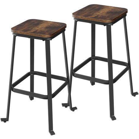 VASAGLE Barhocker, 2er Set, Barstühle, Esszimmerstühle für Kücheninsel, Theke, Bar, mit Fußstütze, Höhe je 71 cm, Industrie-Design, Vintagebraun-schwarz by SONGMICS LJB034B01