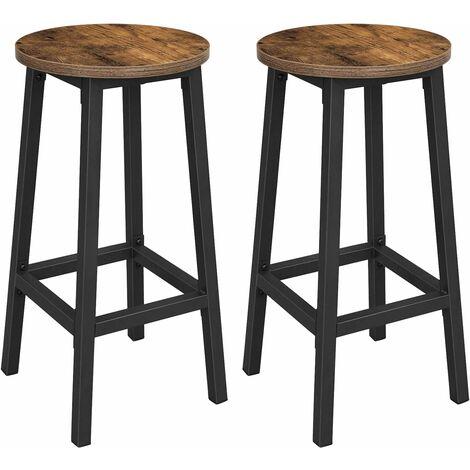 VASAGLE Barhocker, 2er Set Barstühle, Küchenstühle mit stabilem Stahlgestell, Höhe 65 cm, rund, einfache Montage, Industriestil, vintagebraun-schwarz by SONGMICS LBC32X