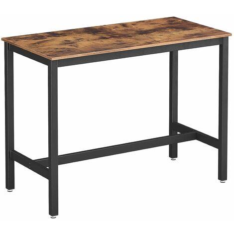 VASAGLE Bartisch Metall, Stabiler Stehtisch Tisch 120 x 60 x 90 cm für Cocktails, einfache Montage, Holzoptik, Küchentisch Vintage, Dunkelbraun by SONGMICS LBT91X