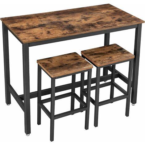 VASAGLE Bartisch-Set, Stehtisch mit 2 Barhockern, Küchentresen mit Barstühlen, Küchentisch und Küchenstühle im Industrie-Design, für Küche, 120 x 60 x 90 cm, Vintage, dunkelbraun by SONGMICS LBT15X