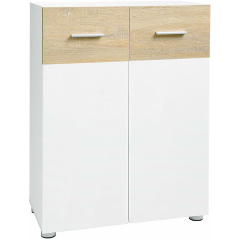 VASAGLE Bathroom Floor Cabinet, Storage Cabinet Unit, Double Door Cupboard with Adjustable Shelves and Feet, for Entryway Hallway, 60 x 30 x 82 cm, White and Oak Colour by SONGMICS BBK43WN