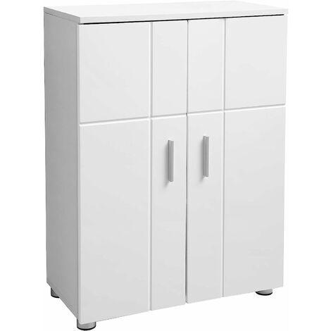 VASAGLE Bathroom Floor Cabinet, Storage Cabinet Unit, Double Door Cupboard with Adjustable Shelves, Buffer Hinges, Adjustable Feet, Entryway Standing Cabinet, 60 x 30 x 82 cm, White by SONGMICS BBK42WT