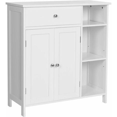 VASAGLE Bathroom Floor Cabinet, Storage Organiser Unit, Cupboard with Drawer, 3 Open Compartments, Adjustable Shelves, 2 Doors, 75 x 30 x 80 cm, Scandinavian Nordic Style, Matte White by SONGMICS BBC142W01