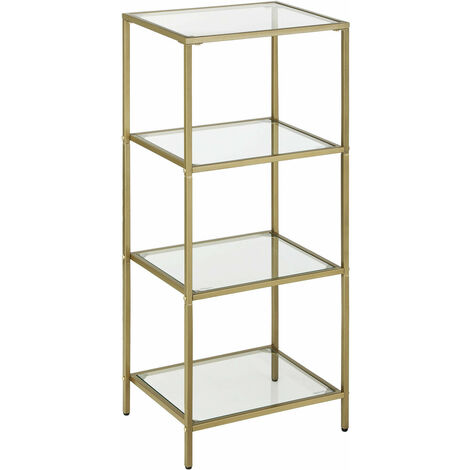 VASAGLE Bathroom Storage Shelf, Tempered Glass Storage Rack, 4-Tier Storage Unit, Sturdy, Easy to Assemble, for Living Room, Bedroom, Office, Golden by SONGMICS LGT28G