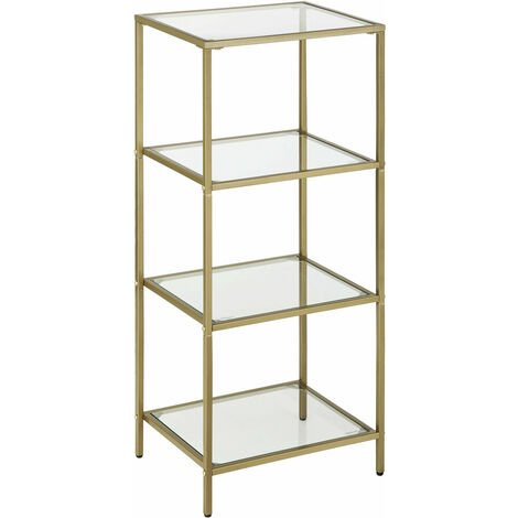 VASAGLE Bathroom Storage Shelf, Tempered Glass Storage Rack, 4-Tier Storage Unit, Sturdy, Easy to Assemble, for Living Room, Bedroom, Office, Golden by SONGMICS LGT28G - Golden