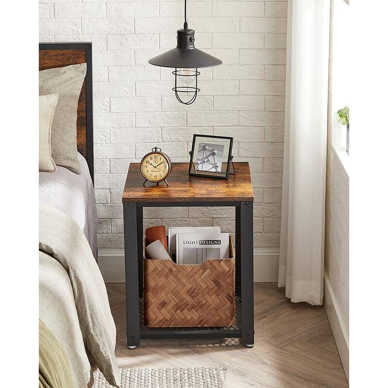 VASAGLE Beistelltisch im Industrie-Design, Nachttisch, Sofatisch mit  Gitterablage, stabil, mit Metallgestell, Wohnzimmer, Schlafzimmer, einfach  zu ...