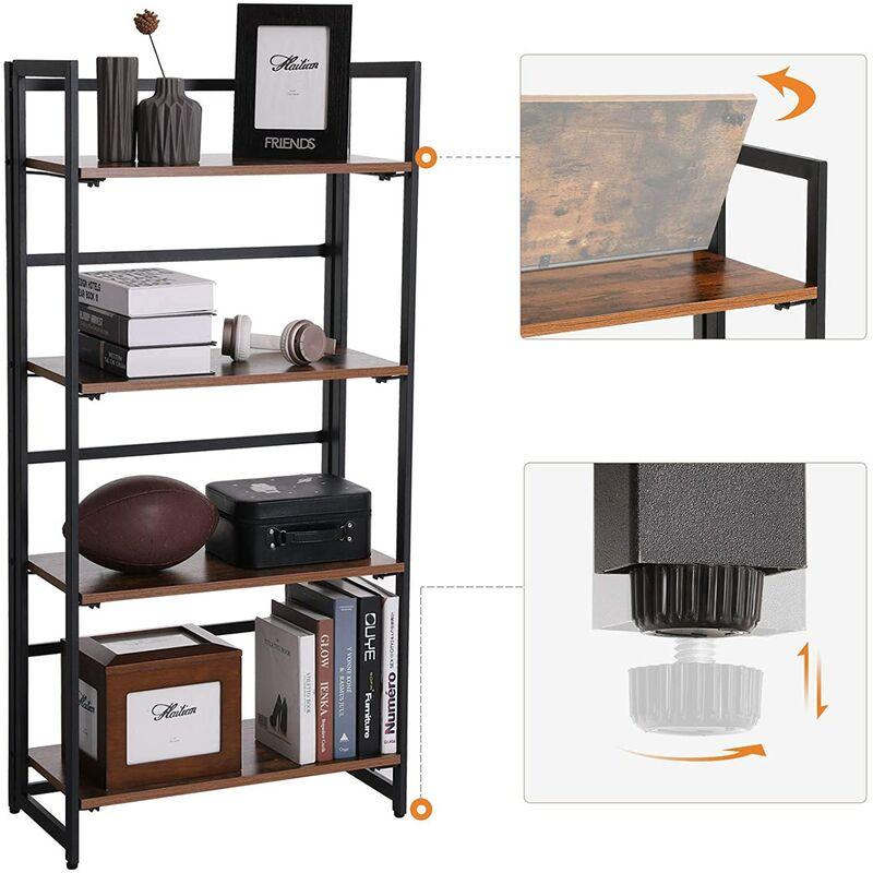 quality design 566ac 69ed3 VASAGLE Bookcase, Folding Storage Rack, 4-Tier Bookshelf, Multifunctional  Shelving Unit, Easy Assembly, with Metal Frame, for Living Room, Bedroom,  ...