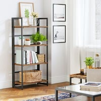 VASAGLE Bookcase, Folding Storage Rack, 4-Tier Bookshelf, Multifunctional Shelving Unit, Easy Assembly, with Metal Frame, for Living Room, Bedroom, kitchen, Vintage, by SONGMICS, LLS88X