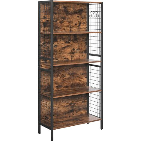 VASAGLE Bookcase, Office Storage Shelf, 4 Tiers for Books, Decorations, Stable Steel Frame, S-Shaped Hooks for Hanging, Living Room, Studio, Bedroom, Rustic Brown and Black by SONGMICS LBC023B01