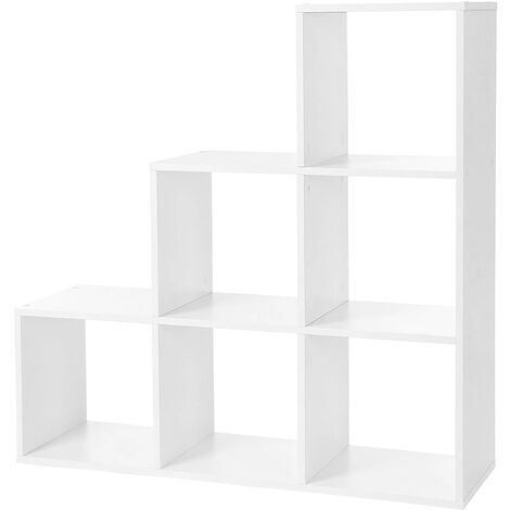 VASAGLE Bookcase Staircase Shelf, 6-Cube Storage Unit, Wooden Display Rack, Free Standing Shelf, Room Divider Step Rack, White by SONGMICS, LBC63WT
