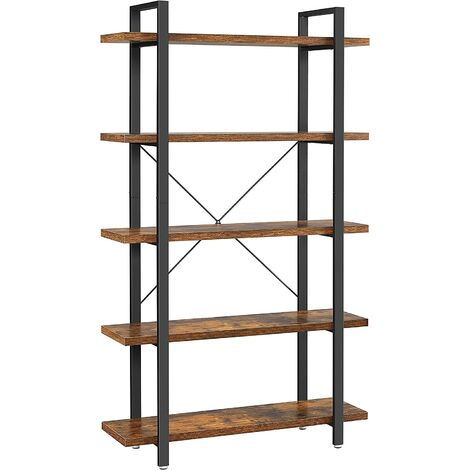 VASAGLE Bookshelf, 5-Layer Industrial Stable Bookcase, Storage Rack, Standing Shelf, Easy Assembly, Living Room, Bedroom, Office, Rustic Brown, by SONGMICS, LLS55BX