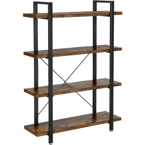 VASAGLE Bookshelf, Bookcase, 4-Layer Industrial Stable Storage Rack, Standing Shelf, Easy Assembly, Living Room, Bedroom, Office, Rustic Brown by SONGMICS LLS54BX