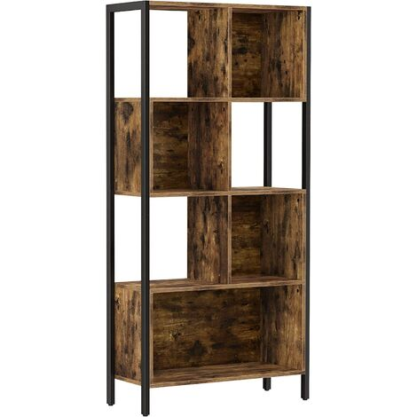VASAGLE Bookshelf, Bookcase, Cube Storage Rack with Steel Frame, for Trinkets, Decors, Framed Pictures, Living Room, Home Office, Industrial Style, Rustic Brown and Black by SONGMICS LBC027B01