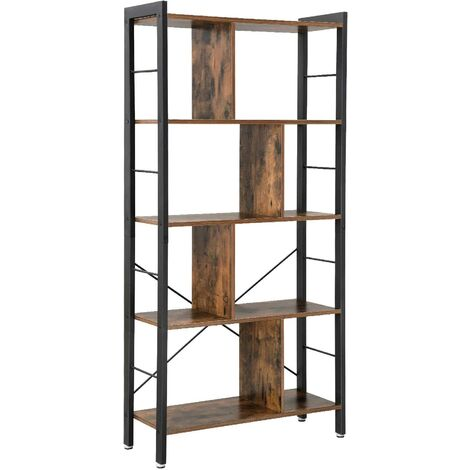 """main image of """"VASAGLE Bookshelf, Industrial Bookcase, Floor Standing Bookcase, Large 4-Tier Storage Rack in Living Room Office Study, Simple Assembly, Engineered Wood and Stable Iron Frame, Rustic Brown by SONGMICS LBC12BX - Rustic Brown"""""""