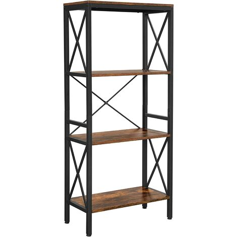 VASAGLE Bookshelf, Kitchen Shelf, Free Standing Shelf, Ladder Rack with 4 Open Shelves, for Corridor, Kitchen, Office, Stable Steel Frame, Industrial Style, Rustic Brown and Black by SONGMICS LLS030B01