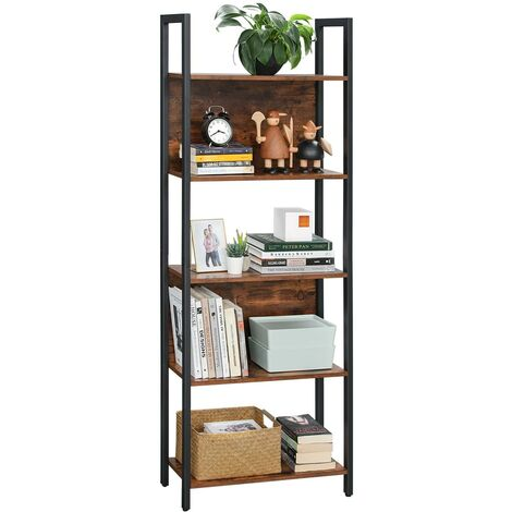 VASAGLE Bookshelf, Storage Shelf, Kitchen Shelf with 5 Shelves, Stable Steel Structure, for Living Room, Entryway, Hallway, Office, Industrial Style, Rustic Brown and Black by SONGMICS LLS025B01