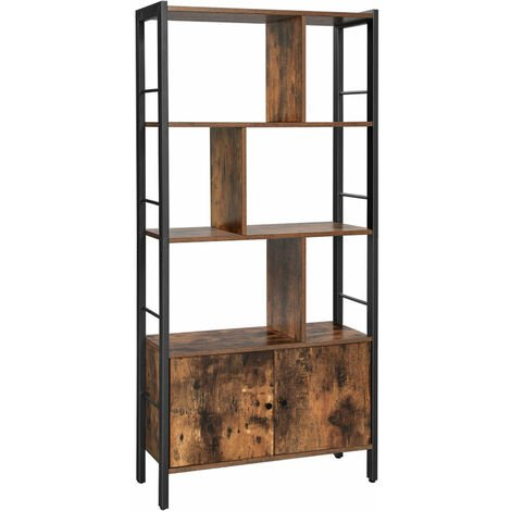 """main image of """"VASAGLE Bookshelf, Storage Shelf, Large Bookcase with 4 Shelves, Stable Steel Structure, Industrial Style, Rustic Brown and Black by SONGMICS LBC022B01 - Rustic Brown, Black"""""""