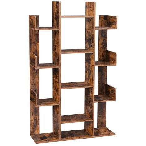 VASAGLE Bookshelf, Tree-Shaped Bookcase with 13 Storage Shelves, 86 x 25 x 140 cm, with Rounded Corners, Rustic Brown by SONGMICS LBC67BXV1