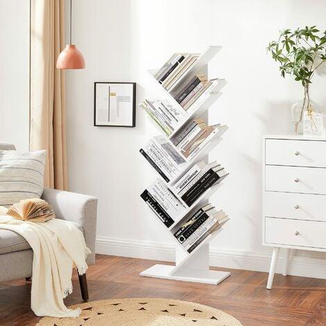 VASAGLE Bücherregal, 8 Ebenen, Baumform, Standregal, CD Regal aus Holz für Wohnzimmer, Büro, Weiß von SONGMICS LBC11WTV1 - Weiß