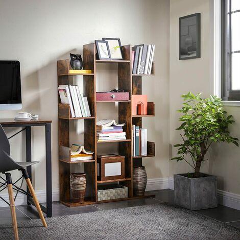 VASAGLE Bücherregal im Baumform, Standregal mit 13 Fächern, Aufbewahrungsregal, 86 x 25 x 140 cm, mit abgerundeten Ecken, Vintagebraun von SONGMICS LBC67BXV1 - Vintagebraun
