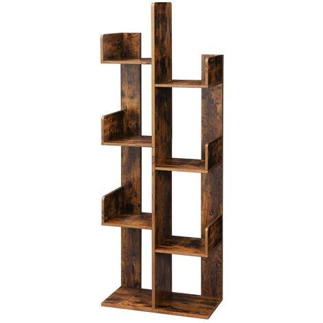 VASAGLE Bücherregal im Baumform, Standregal mit 8 Fächern, Aufbewahrungsregal, 50 x 25 x 140 cm, mit abgerundeten Ecken, Vintagebraun von SONGMICS LBC66BXV1 - Vintagebraun
