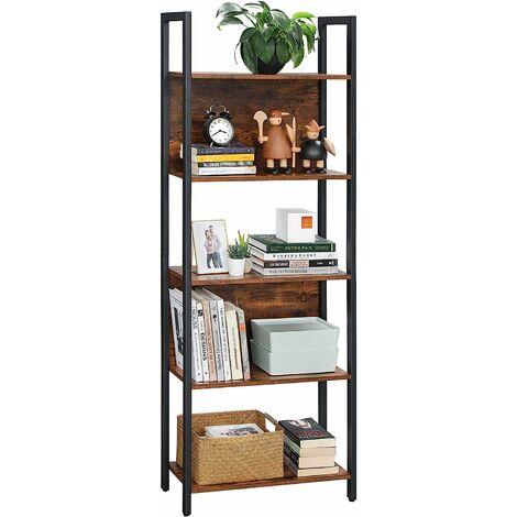 VASAGLE Bücherregal mit 5 offenen Regalebenen | Standregal stabiles Stahlgestell Industrie-Design vintagebraun-schwarz von SONGMICS LLS025B01 - Vintagebraun-schwarz