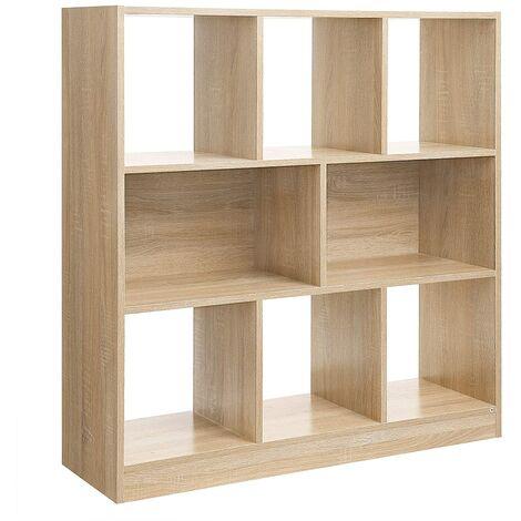 VASAGLE Bücherregal, Raumteiler Regal, Standregal aus Holz mit offenen Fächern, Vitrine für Wohnzimmer, Schlafzimmer, Kinderzimmer und Büro, 97,5 x 30 x 100 cm (L x B x H), Eiche by SONGMICS LBC52NL - Oak