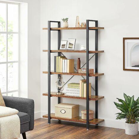 VASAGLE Bücherregal, stabiles Standregal mit 5 Regalebenen, Wohnzimmerregal im Industrie-Design, einfacher Aufbau, Wohnzimmer, Schlafzimmer, Büro, Vintage by SONGMICS LLS55BX - Rustic Brown