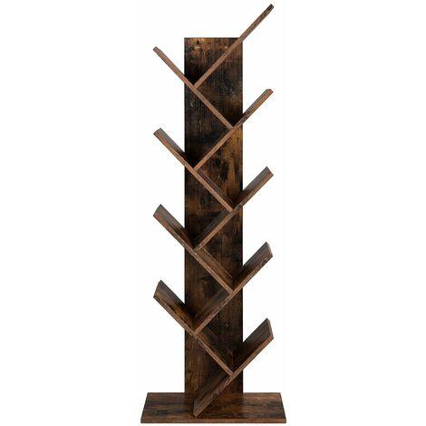 VASAGLE Bücherregal, Standregal mit 8 Ebenen, in Baumform, aus Holz, für Wohnzimmer, Home Office und Büro, Vintage, Dunkelbraun by SONGMICS LBC11BX - Marrón Rústico