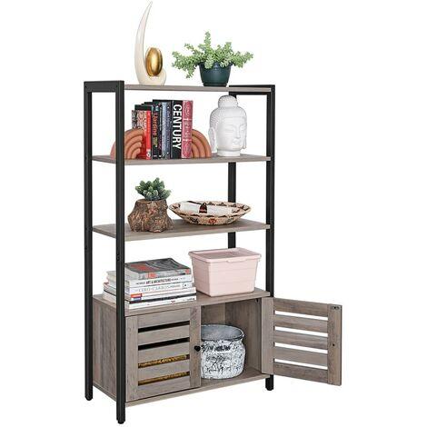 VASAGLE Bücherregale mit 3 Ablagen 2 Türen 121,5 x 70 x 30 cm im Industrie-Design Bücherschrank multifunktional greige-schwarz/schwarz