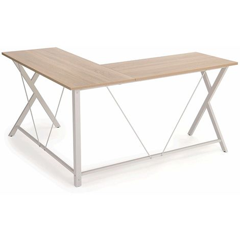 VASAGLE Bureau Informatique, Table d'Angle, Bureau Poste de Travail, Montage Simple, Gain de Place, Table Informatique pour Maison et Bureau, 145 x 130 x 76 cm Brou-de-Noix par SONGMICS LWD70WN