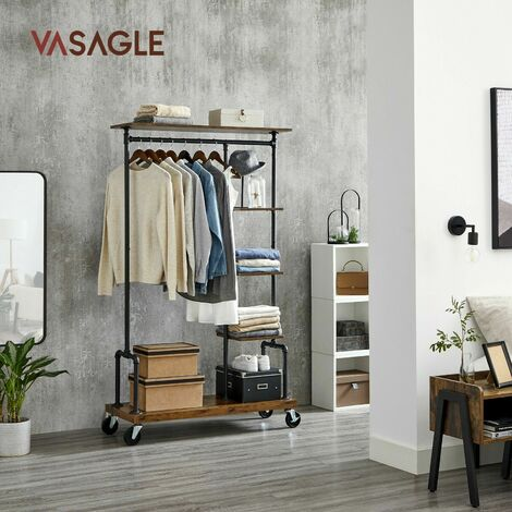 VASAGLE Clothes Rack, Clothing Rack on Wheels, 5-Tier Garment Rack with Metal Pipes, Rustic Brown by SONGMICS HSR66BX