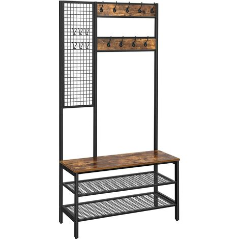 VASAGLE Coat Rack, Coat Stand with Grid Wall, Shoe Rack, Hall Tree, 2 Mesh Shelves, Hooks, 185 cm Tall, Lots of Storage Space, Easy to Assemble, Industrial Style, Rustic Brown by SONGMICS HSR98BX