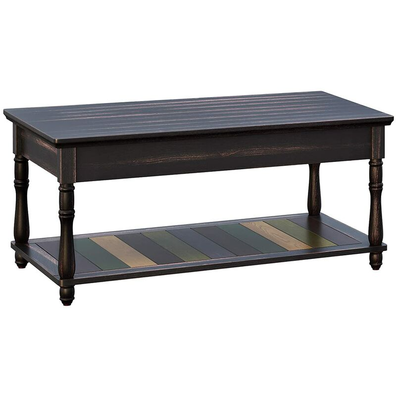 Vasagle Coffee Table With Turned Solid Wood Legs Tail Colorful Lower Shelf No Tool Embly For Living Room Office Study