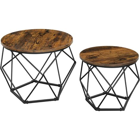 """main image of """"VASAGLE Coffee Tables, Set of 2 Side Tables, Robust Steel Frame, for Living Room, Bedroom, Rustic Brown and Black by SONGMICS LET040B01 - Rustic Brown and Black"""""""