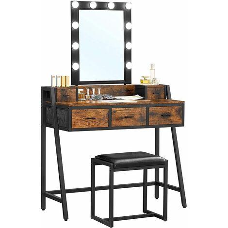 VASAGLE Coiffeuse avec tabouret, Table de maquillage, avec 10 ampoules LED intensité réglable, miroir, pour chambre, dressing, style industriel, Marron Rustique et Noir par SONGMICS RVT015B01 - Marron Rustique et Noir