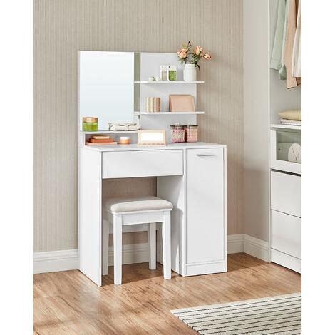"""main image of """"VASAGLE Coiffeuse, Table de Maquillage, avec Miroir, 1 tiroir, 2 étagères, Placard de Rangement, Organisateur de Maquillage, Blanc par SONGMICS RDT119W01 - Blanc"""""""