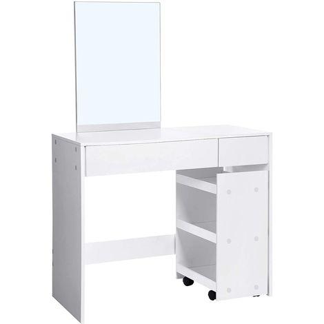 VASAGLE Coiffeuse, Table de Maquillage, avec Miroir rectangulaire et 2 tiroirs, étagère Mobile à 3 Niveaux, Rangement Produits cosmétiques, Bijoux, Style Moderne, Blanc par SONGMICS RDT110WT