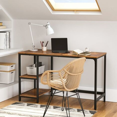 """main image of """"VASAGLE Computer Desk Industrial Design PC 2 Shelves on Right or Left Side Work Table for Office Living Room Lightweight Mounted , Wood composite, Vintage and Black, 120 x 75 x 60 cm (L x H x B) by SONGMICS LWD47X - Vintage and Black"""""""