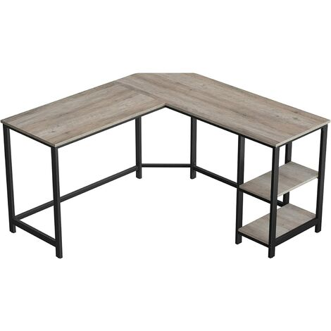 VASAGLE Computer Desk, L-Shaped Writing Workstation, Corner Study Desk with Shelves for Home Office, Space-Saving, Easy to Assemble, Industrial, Greige and Black by SONGMICS LWD72MB - Greige and Black